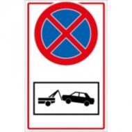 Megállni tilos + gépkocsi elszállítás piktogram műanyag tábla 210x297mm