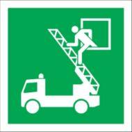 Homlokzati mentési pont épületen belüli jelzésre műanyag tábla 150x150mm