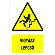 Vigyázz! Lépcső lefelé matrica 160x250mm