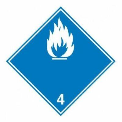 Vízzel érintkezve gyúlékony gázokat fejlesztő anyag. matrica 100x100mm